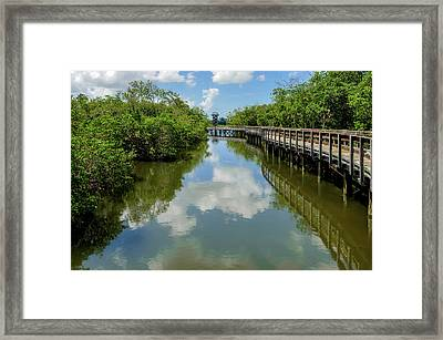 Framed Print featuring the photograph Pathway Through Salt Water Marsh To Observation Tower  -  Preservetowerwalkway135457 by Frank J Benz