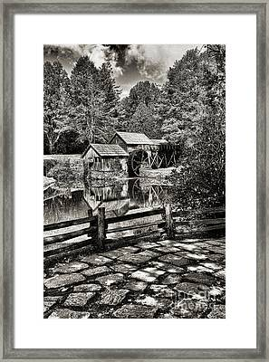 Pathway To Marby Mill In Black And White Framed Print