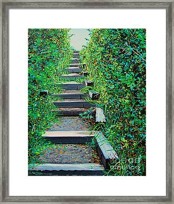 Pathway To Puget Sound Framed Print by Stephen Ponting