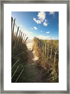 Pathway To The Beach, Beadnell Framed Print by John Short