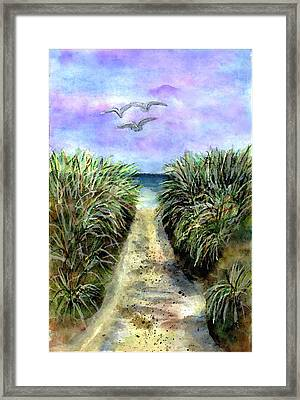Pathway To The Shore Framed Print by Dina Sierra