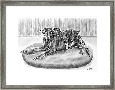 Patience - Doberman Pinscher And Puppy Print Framed Print by Kelli Swan