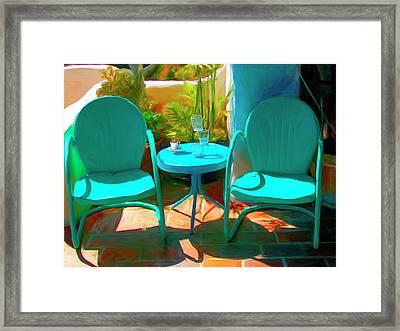 Patio Antics Framed Print by Snake Jagger