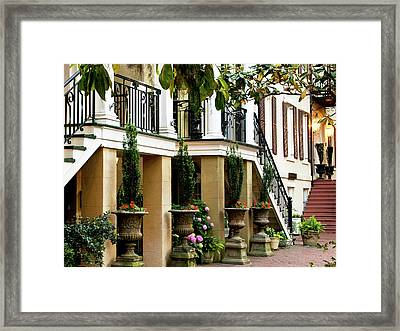 Patio At Dusk Framed Print by Sandra Anderson