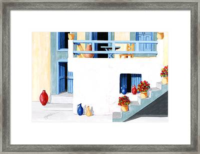 Santorini Patio By The Sea - Prints Of Original Oil Painting Framed Print by Mary Grden's Baywood Gallery