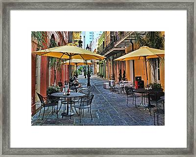 Patio Cafe In Nola Framed Print by Judy Vincent