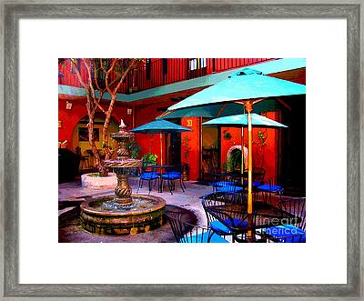 Patio Fountain At Casa De Leyendas By Darian Day Framed Print by Mexicolors Art Photography