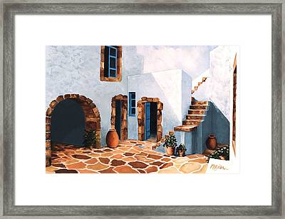 Patio In Patmos, Greece-prints From Original Oil Painting Framed Print by Mary Grden's Baywood Gallery