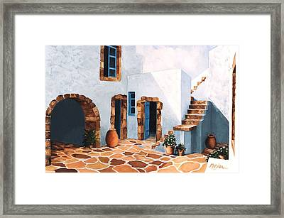 Patio In Patmos, Greece-prints From Original Oil Painting Framed Print