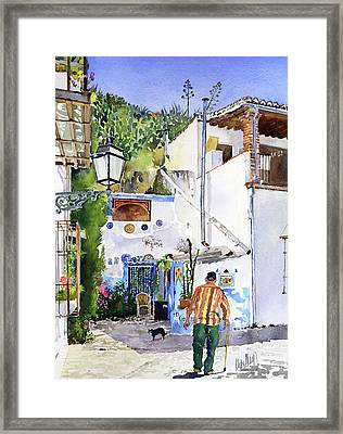 Patio In Sacromonte Granada Framed Print by Margaret Merry