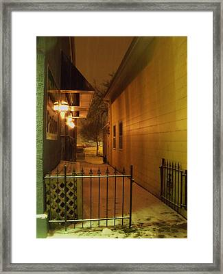 Patio In The Snow Framed Print