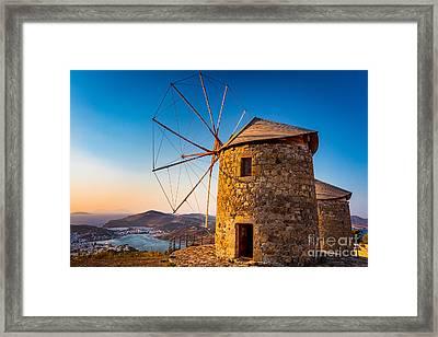 Patmos Windmills Framed Print