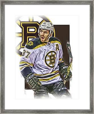 Patrice Bergeron Boston Bruins Oil Art 1 Framed Print by Joe Hamilton