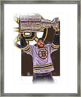 Patrice Bergeron Boston Bruins Oil Art 3 Framed Print