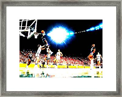 Patrick Ewing Framed Print by Brian Reaves