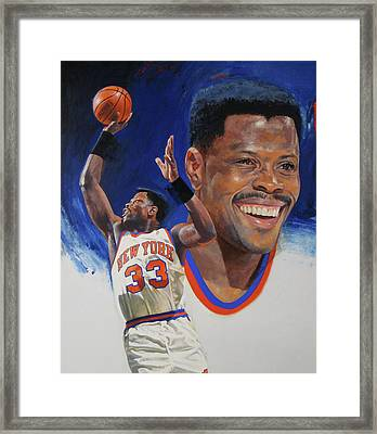 Framed Print featuring the painting Patrick Ewing by Cliff Spohn