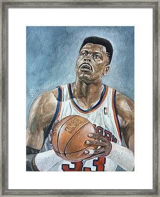 Patrick Ewing Framed Print by Nigel Wynter