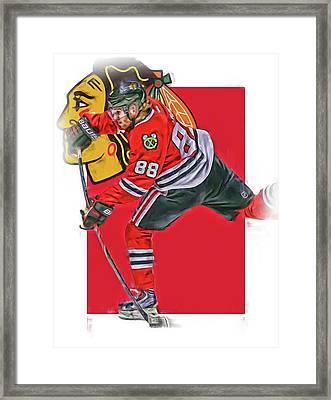 Patrick Kane Chicago Blackhawks Oil Art Series 1 Framed Print by Joe Hamilton