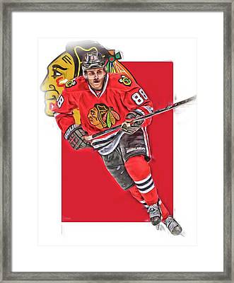 Patrick Kane Chicago Blackhawks Oil Art Series 3 Framed Print by Joe Hamilton