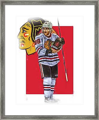 Patrick Kane Chicago Blackhawks Oil Art Series 4 Framed Print by Joe Hamilton