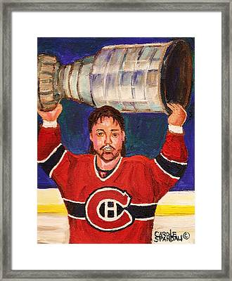 Patrick Roy Wins The Stanley Cup Framed Print by Carole Spandau