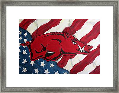 Patriot Hog Framed Print by Nathan Grisham