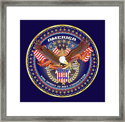 Patriotic America Mixed Designs W-transparent Back Pick Your Color Framed Print