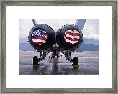 Patriotic American Flag Covers On The Rear Of An American F/a-18 Hornet Fighter Combat Jet Aircraft. Framed Print
