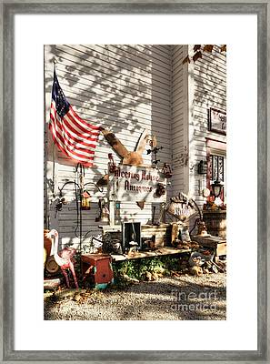 Patriotic Antiques In Metamora Framed Print by Mel Steinhauer