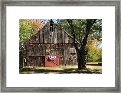 Patriotic Barn Framed Print by Nancy De Flon