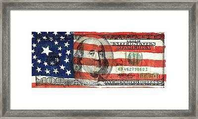 Patriotic Benjamin Framed Print by Jon Neidert