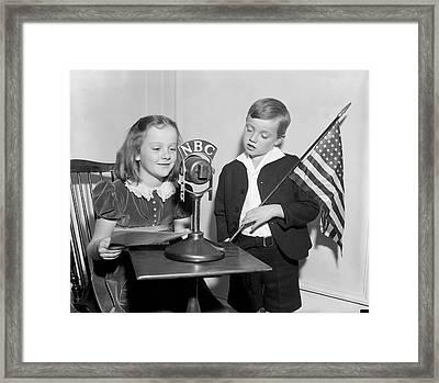 Patriotic Broadcast Framed Print by Harris & Ewing