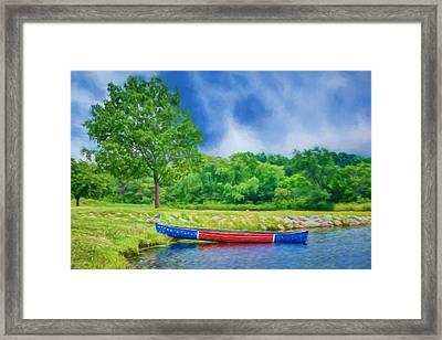Patriotic Canoe - 2 - Red White Blue Framed Print by Nikolyn McDonald