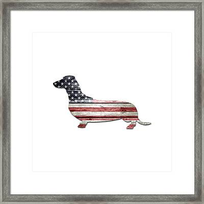 Patriotic Dachshund Framed Print by Lisa Crisafi