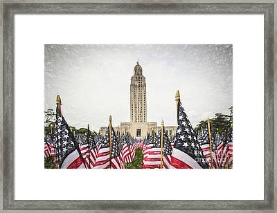 Patriotic Display At The Louisiana State Capitol Framed Print