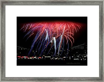 Patriotic Fireworks S F Bay Framed Print by Brian Tada