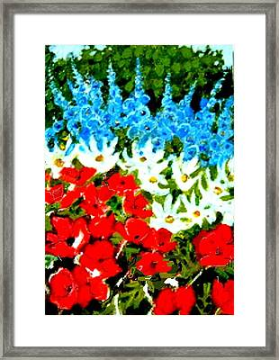 Framed Print featuring the painting Patriotic Garden by Diane Ursin