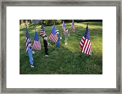 Patriotic Lawn Ornaments Represent Framed Print