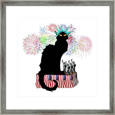 Patriotic Le Chat Noir Framed Print by Gravityx9 Designs