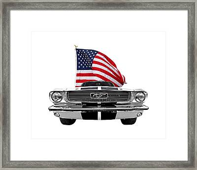 Patriotic Mustang On White Framed Print
