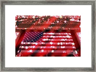 Patriotic New York Stock Exchange Tote Bag Framed Print