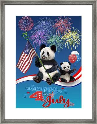Patriotic Pandas Framed Print