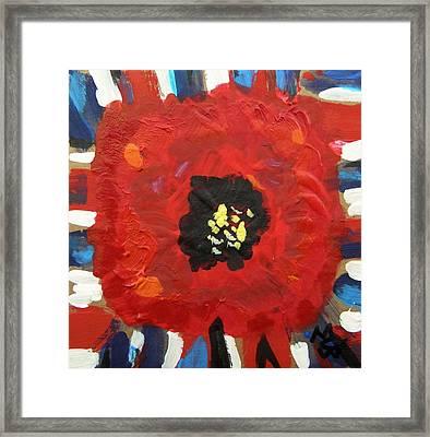 Patriotic Poppy Framed Print by Mary Carol Williams