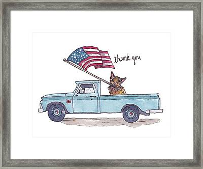 Patriotic Puppy Card Framed Print