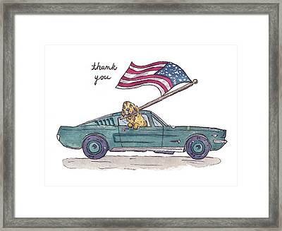 Patriotic Puppy Thank You Card Framed Print