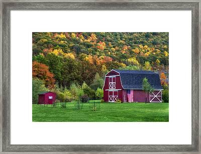 Patriotic Red Barn Framed Print by Mark Papke