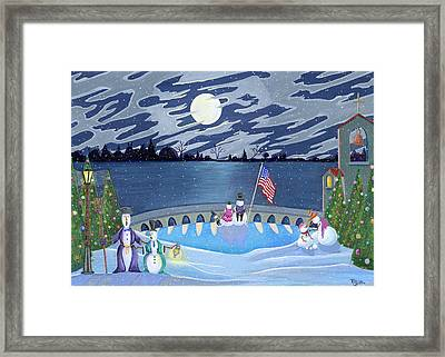 Patriotic Snowmen Framed Print by Thomas Griffin
