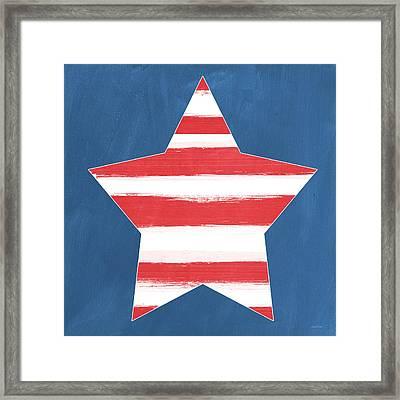Patriotic Star Framed Print by Linda Woods