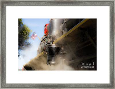 Patriotic Steam Train Framed Print by Juan Romagosa