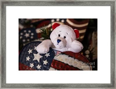 Patriotic Teddy Bear Framed Print by Lynn Sprowl